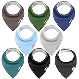 Linlook Baby Dreieckstuch Lätzchen - Spucktuch Baumwolle Saugfähig Weich Halstücher für Baby Jungen und Mädchen Einfarbig 8er (Farbe-06)