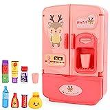 Simulation Doppeltüriger Spaß Kühlschrank Küche Smart Toy Kindermöbel Mit Küchenspielzeug Set Zubehör (Pink)