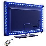 TV Hintergrundbeleuchtung OMERIL 2.2M USB Led Band Strip Wasserdicht RGB LED Streifen Fernseher Beleuchtung mit 24-Key Fernbedienung, für 40-60 Zoll HDTV, TV-Bildschirm,PC usw. (B)