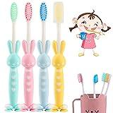 4 Zahnbürsten für Kinder, Cartoon-Kaninchen, Kinder-Zahnbürste mit weichen Borsten, Zahnbürste mit extra feinen Borsten für Kinder 3-6 Jahre