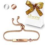 TMT Personalisiertes Geburtsstein Armband mit Gravur   Silber Rose-gold   mit namen für Frauen und Mädchen Identitätsarmband Namensarmband BFF Bridesmaid Geburtstag Geschenk