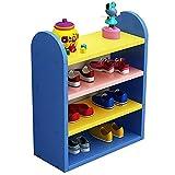 VIMI Praktisches Schuhregal 4-ters Schuhständer Bunte Kinderschuhgestell Einfaches Lagerregal spart Platz Schuhregal mit großem Fassungsvermögen (Color : Blue)