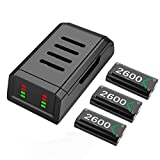 Battery Pack for Xbox One Series X S Controller, Charging Station Charger Dock with 3x2600mAh Rechargeable Batteries Pack for Wireless Xbox One/Xbox One S/Xbox One X/Xbox One Elite/Xbox Series X|S