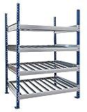 Flex-Flow Basismodul mit 4 Etagen, mit Laufschienen, Kanban Picking, Linienführung, Lagerung, Keller, Garage, Dachboden