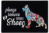 Fußmatte mit Aufschrift 'Please Remove Your Shoes', Flanell-Teppich für Eingangsbereich, Schlafzimmer, rutschfeste Rückseite, für Büro, Küche, Badezimmer, Wohnung, Blumen, Deutscher Schäferhund