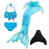 Mädchen Meerjungfrauen mit Meerjungfrau Flosse zum Schwimmen 4 Stück Set Prinzessin Cosplay Badeanzug