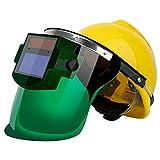 ABOOFAN Dimmendes Schweiß-Gesichtsmaske, solarbetrieben, Schweißmasken mit Sicherheitshut für Schweißer (1 Stück + Sicherheitshut, gelb)