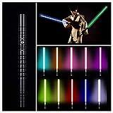 NENGGE Jedi Sith Schweres Duell RGB Lichtschwerter 11 Farben Force FX Lichtschwert Mit Stimme Metall Aluminium Griff LED Lichtschwert,USB Charging,Schwarz,39.37in