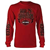 Harley-Davidson Military - Men's Long-Sleeve Red Graphic T-Shirt - Aviano Air Base | Hot Ride Large