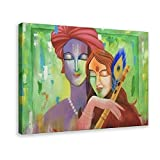 Poster mit Motiv 'Emblem der Liebe' von Radha Krishna, Acrylgemälde, Wandkunst, Dekor, Bild, Gemälde für Wohnzimmer, Schlafzimmer, Dekoration, 60 x 90