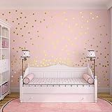 Slivercolor Gold Punkt Aufkleber,Herausnehmbarer Dot Aufkleber,Wandtattoo Punkte für Kinderzimmer Deko, 1,2 Zoll, 216 Punk