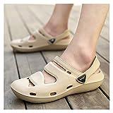 MING-BIN Schuhe bequem Casual Sandalen Männer Wasser Outdoor-Schuhe Ziehen Sie auf Stil Eva-Kunststoffe rutschfeste perforiert Mode (Color : Brown, Size : 36 EU)