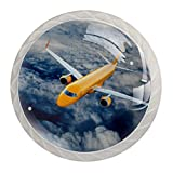 Runder Knauf aus Metall, für Schrank, Schublade, Türgriff, 4 Stück, Luftfahrtflugzeug mit H