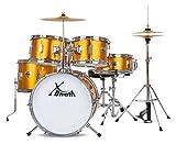 XDrum Junior Pro Kinder Schlagzeug Sunset Gold Sparkle - geeignet von 5-9 Jahren - Drumset mit komplettem Zubehör - inkl. Schule mit DVD - orange