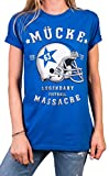 MAKAYA Mücke 63 Shirt für Damen blau - American Football Trikot mit Helm - Bud Oversize Top Große Größen L