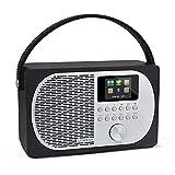 Smart-Radio, Internet-Radio, DAB/DAB+ & FM Digitalradio, Bluetooth-Lautsprecher, tragbares Radio, Wecker, Batterien und Netzbetrieb, 20 Sendereinstellungen, Farbdisplay, App-Steuerung – (Black Oak)