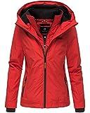 Marikoo Damen Regen Jacke Outdoor Regenjacke Winterjacke Fleece Gefüttert Kapuze XS - XXL Erdbeere (L, Rot)