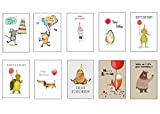 Geburtstagskarten 10 Stück Premium Tiere Lustig für Erwachsene & Kinder, Glückwunschkarte Geburtstag Grusskarte, 10 x 15 cm