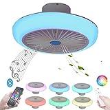 Flach Ventilator Decke mit LED Licht Dimmbar Deckenventilator mit Beleuchtung Fernbedienung und APP 73W Deckenlampe RGB Farbwechsel Musik Bluetooth Lautsprecher Deckenleuchte Leise Innen Dekorative