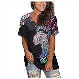 Damen Tshirt Kurzarm Sommer Oberteile Weltkarte Druck Tops Elegant Basic Shirt Lose V-Ausschnitt Bluse Casual Hemd Tunic Tunika für Teenager Mädchen Frauen (Mehrfarbig,L)