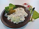 Klaassen Friesischer-Sahnetopf, Bismarckhering in Stücken, Sahnesauce, Äpfel, Zwiebel, GewürzGurke, mild-säuerlich, 500g