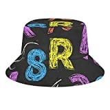 Brand Free Unisex Print Bucket Hat – Bunte Retro Alphabet Buchstaben Zeichnung mit Kreide auf schwarzer Schultafel Gr. One size, Stil 1