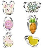 Ausstechformen, 6-teiliges Oster-Ausstechformen-Set, Ei, Hase, Schmetterling, Karotte, Küken, Edelstahl