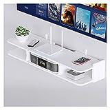 White Floating Entertainment Center Holz, Wandmontierte TV-Regale mit Organizer-Speicher, modernes hängendes Rack für DVD, Spielkonsole, Medienk