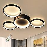 ZMH Deckenlampe LED Deckenleuchte Wohnzimmerlampe Schwarz dimmbar mit Fernbedienung Modern Design 4 Ring 52W Innen aus Aluminium für Schlafzimmer Wohnzimmer Kinderzimmer Esszimmer