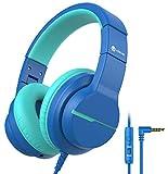 iClever HS19 Kinder kopfhörer über Ohr, HD Stereokopfhörer mit Mikrofon, Lautstärkenbegrenzer 85/94dB, Sharing-Funktion, Faltbarer Kopfhörer für Schule, T