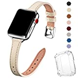 SUNFWR Kompatibel mit Apple Watch Armband 38 mm 40 mm 42 mm 44 mm, Ersatz aus echtem Lederband, schmales und dünnes Armband für die iwatch Serie 6/5/4/3/2/1,SE(42mm 44mm,Elfenbein Weiß&Silber)