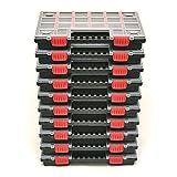 10x Sortimentskasten NORS14 Sortierbox Set Sortierkasten Kleinteilemagazin Mit Trennwänden Mit komfortablem und stabilem Griff Durchsichtiger Deckel Kunststoff 34,4 x 24,9 x 5 cm