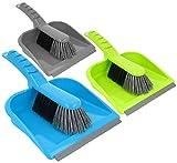 com-four® 3X Kehrgarnitur - Kehrset bestehend aus Handfeger und Kehrschaufel - Handbesen in bunten Farben - Schaufel mit Gummilippe (03 Stück - bunt/ohne Silikongriff)