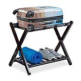 Relaxdays Kofferständer für Reisen, klappbare Kofferablage aus Bambusholz, Gepäckständer HxBxT: 56x67,5x42,5 cm, braun