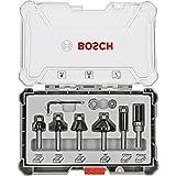 Bosch Professional 6tlg. Rand- und Kantenfräser Set (für Holz, Zubehör für Oberfräsen mit 8 mm Schaft)