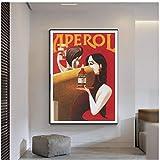 YGWDLON Aperol Druck Vintage Red Summer Drinks Werbung Kunst Leinwand Poster Malerei Wandkunst Bilder für Wohnzimmer Schlafzimmer Dekoration-40x60cm No Frame