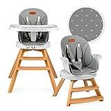 MOMI WOODI Kinderhochstuhl 3-in-1 für Babys und Kinder von 6 bis 36 Lebensmonat (max. 15 kg Körpergewicht   83 x 60,5 x 104 cm, Gewicht 11,3 kg, 5-Punkt-Sicherheitsgurt, Baby-Hochstuhl 360°   Gray