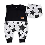 Baby Sweets 2er-Set Strampler Halstuch Unisex in Schwarz im Sterne-Motiv mit Kurzarm-Babystrampler ohne Füße und passendem Baby-Halstuch für Neugeborene & Kleinkinder in der Größe 0-3 Monate (62)