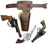 KarnevalsTeufel Wilder Westen Set für Erwachsene Gürtel-Tasche braun Pistole Cowboy-Sheriff-Set (Modell 3)