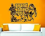 GTA 5Grand Theft Auto 5Wandsticker/-aufkleber, Vinyl, Schwarz , 90 x 58 cm