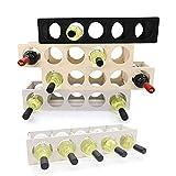 INEXTERIOR Weinregal stapelbar aus Holz - modernes Design - für 5 Flaschen Flaschen geeignet - Made in Germany (Grau)