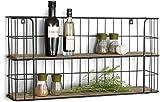 GUOXIANG Wandregal Hängelregal Schweberegal Vintage Wandregal aus Holz und Metall Schwarz mit 2 Böden, Küchenregal oder Gewürzständer für Kü