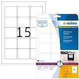 HERMA 5087 Disketten Etiketten 3,5' DIN A4 (59 x 50 mm, 25 Blatt, Papier, matt) selbstklebend, bedruckbar, permanent haftende ZIP-Disk-Aufkleber, 375 Klebeetiketten, weiß