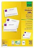 SIGEL DP839 Visitenkarten hochweiß, 150 Stück (15 Blatt), 85x55 mm, beidseitig bedruckbar und satiniert, 200 g - weitere Stückzahlen