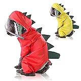 TSMALL Wasserdichter Regenmantel für Hunde mit Kapuze, Regenjacke für Cartoon-Dinosaurier, atmungsaktiver Regenponcho-Schutzmantel für kleine, mittlere und große Hunde,Gelb,XXL