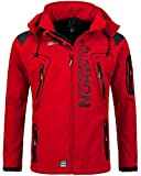 Geographical Norway Techno Softshelljacke Herren Kapuze abnehmbar, Red, S