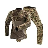 Camouflage-Militärarmee Tactical Uniform Set Schwarz Combat Shirt Hosen Herren Jagdbekleidung Airsoft Sniper Bekleidung Waistcoat (Color : MC, Size : XXL)