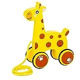 Magent Holz Tier Ziehen Spielzeug, Kartoon Design Nachziehspielzeug Nachziehtier Holzspielzeug Motorikspielzeug Lernspielzeug Geschenk für Kleinkind ab 3 Jahr
