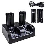 Remote Ladegerät für 2 Wii Controller mit 4 Akkus,TechKen Ladestation für WII Fernbedienung für Wii Remote Docking Station für W