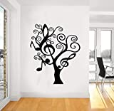 Musiknote Baum Wandaufkleber für Wohnzimmer Familie Hintergrund Vinyl wasserdichte Abziehbilder Musikzimmer Kunst Poster Wandbild 57 * 68